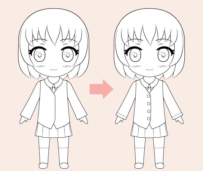 Gambar garis gadis anime Chibi