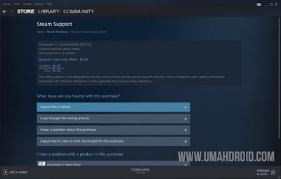 Menu Refund Pembelian Game di Steam