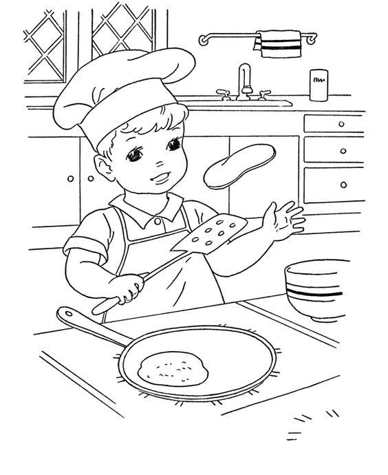 Hình tô màu bé làm bếp