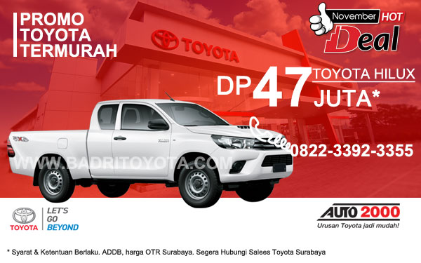 Paket Keren Toyota Hilux DP 47 Juta, Promo Toyota Surabaya
