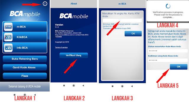 cara verifikasi ulang BCA Mobile melalui menu about