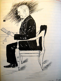 A sketch of a suited man seated in a chair and reading.