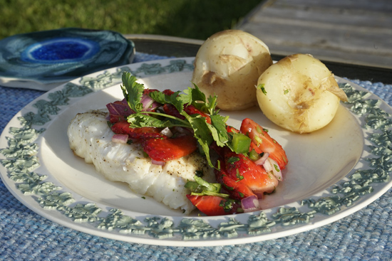 Halibut with Strawberry salsa with red onion, jalapeno pepper and cilantro.
