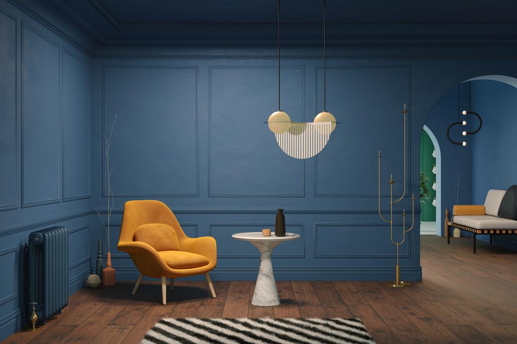 Palety na ściany w kolorze niebieskim