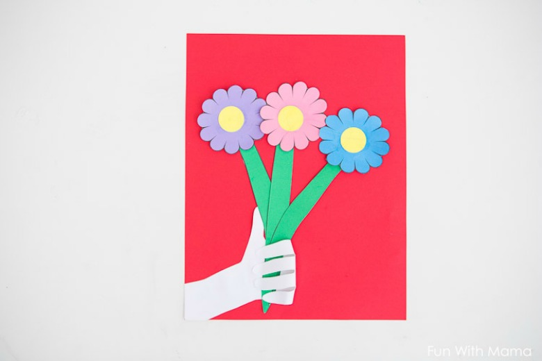 handprint flower paper craft for kids