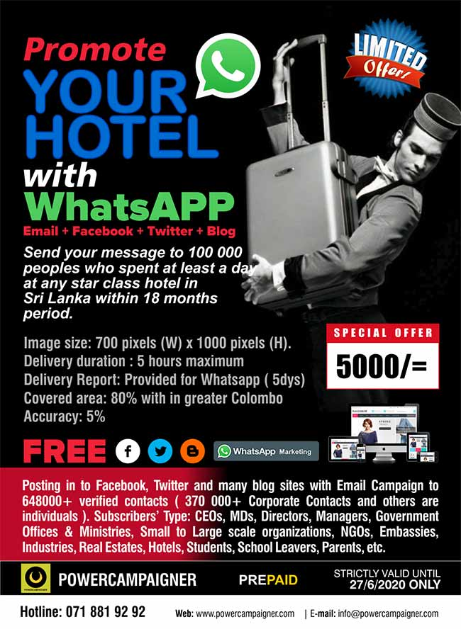 Promote your Hotel, Resort, Villa with WhatsAPP Marketing.