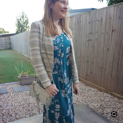 awayfromblue Instagram   Kmart teal floral print midi dress with jacquard jacket for business casual office outfit with metallic silver rebecca minkoff mini mac