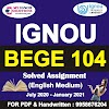 BEGE 104 Solved Assignment 2020-21