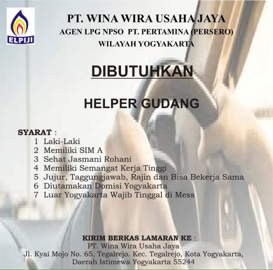 PT. Wina Wira Usaha Jaya Wilayah Yogyakarta Membuka Lowongan Kerja Sebagai Helper Gudang