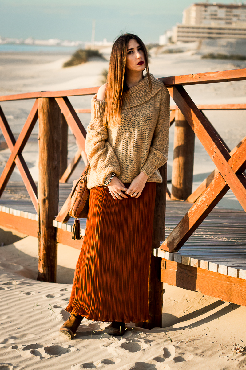 shoulder off and maxi skirt