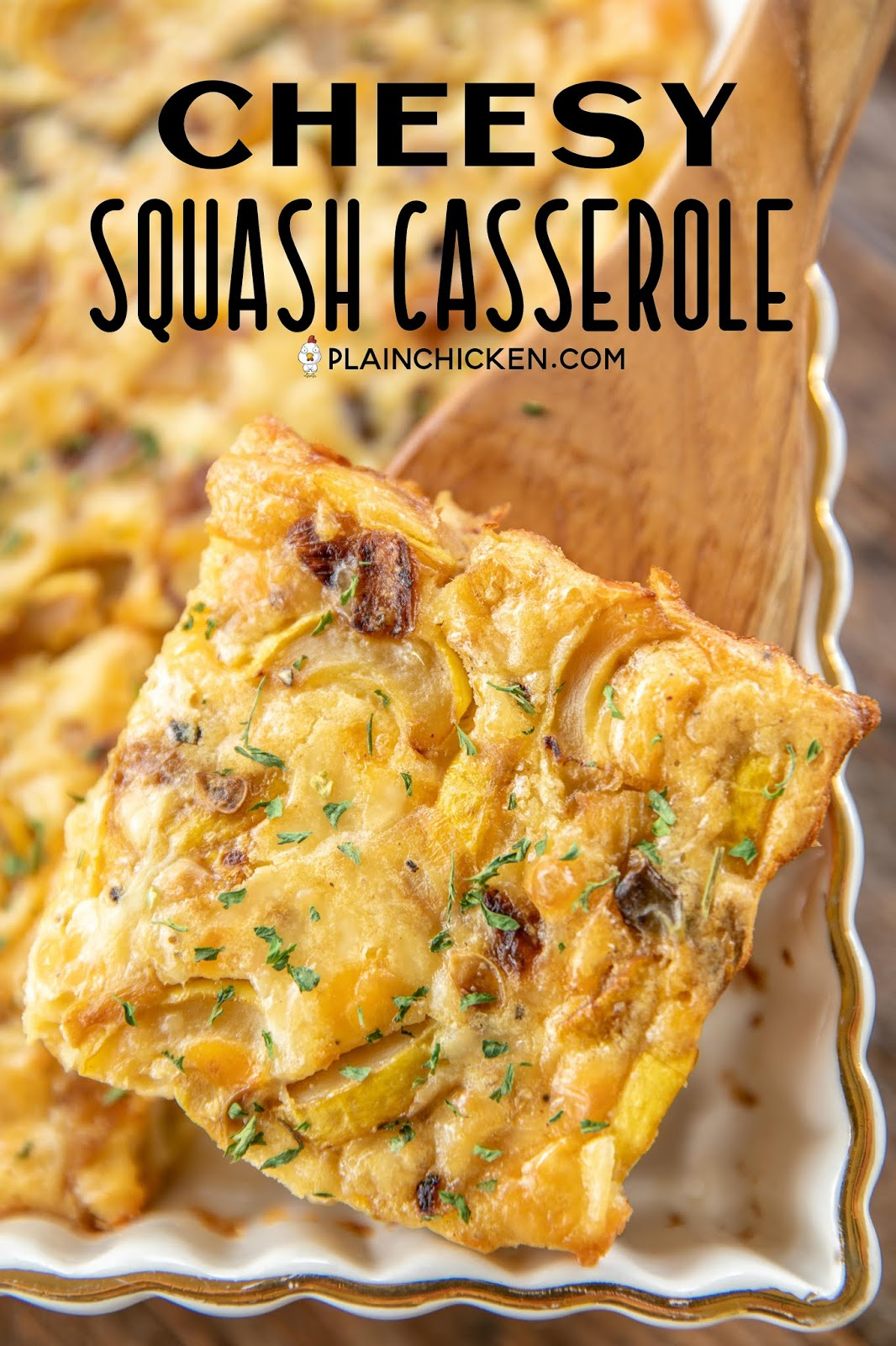 scooping squash casserole from baking dish