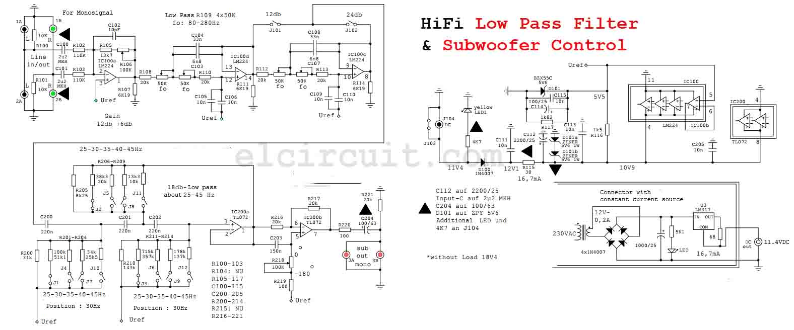HighQuality Subwoofer Low Pass Filter  Electronic    Circuit
