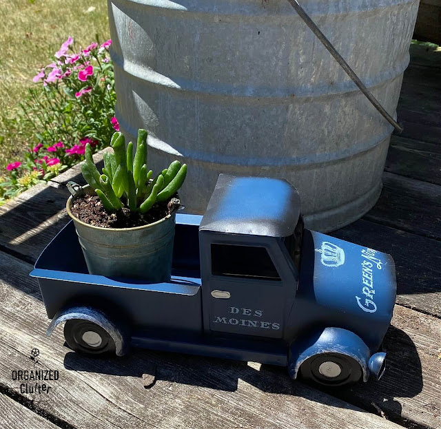 Photo of a blue truck with decor transfers on the deck with a succulent plant in the truck bed
