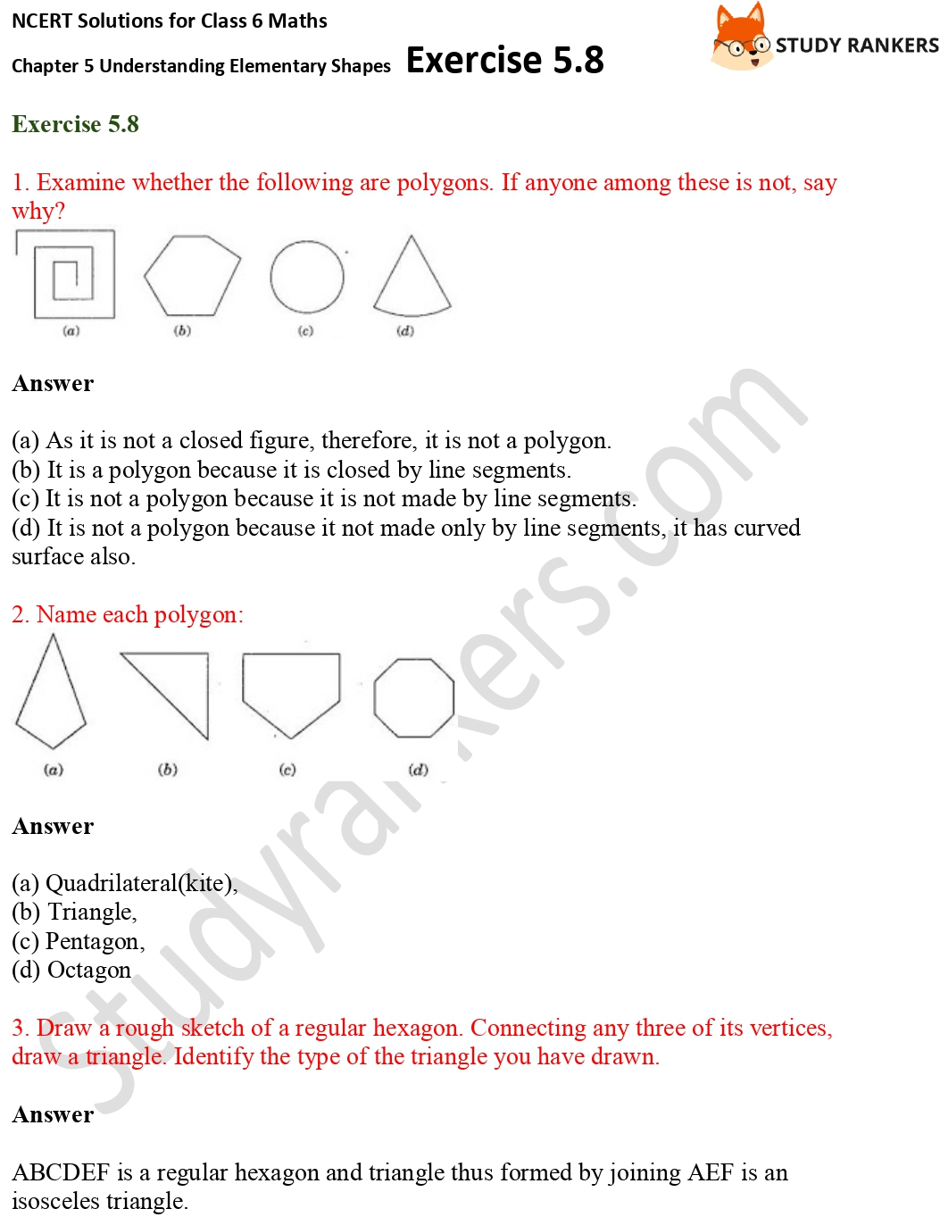 NCERT Solutions for Class 6 Maths Chapter 5 Understanding Elementary Shapes Exercise 5.8 Part 1