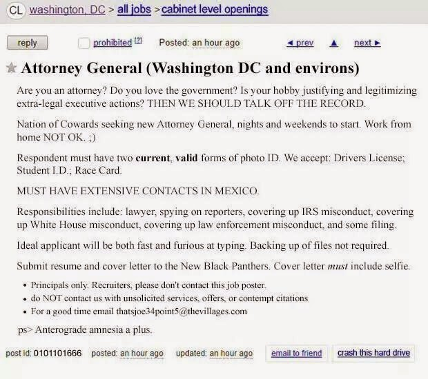 "Craigslist Job Opening for ""Attorney General"