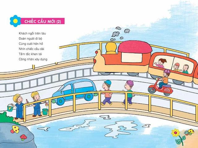 thơ cho trẻ mầm non chủ đề nghề nghiệp Tranh minh họa (Chiếc cầu mới)