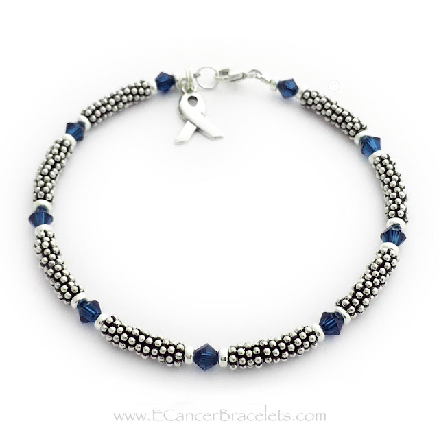 4mm Rope & Crystal Blue Ribbon Bracelet Link: https://www.cancerbraceletsbreast.com/rope-ribbon-bracelet-r18-4mm.html #blueribbonbracelets #coloncancerbracelets