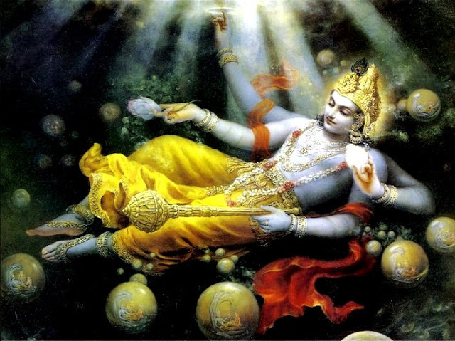 Universes emerging from Sri Maha Vishnu