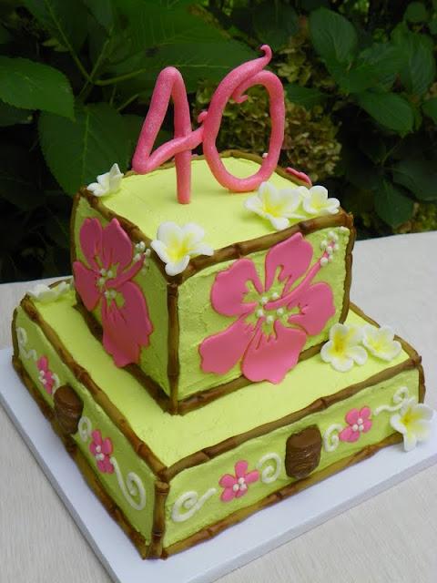 Plumeria Cake Studio Hawaiian Themed 40th Birthday Cake