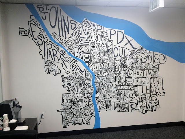 portland neighborhood map, portland mural, portland neighborhood mural, portland map mural, portland pride mural