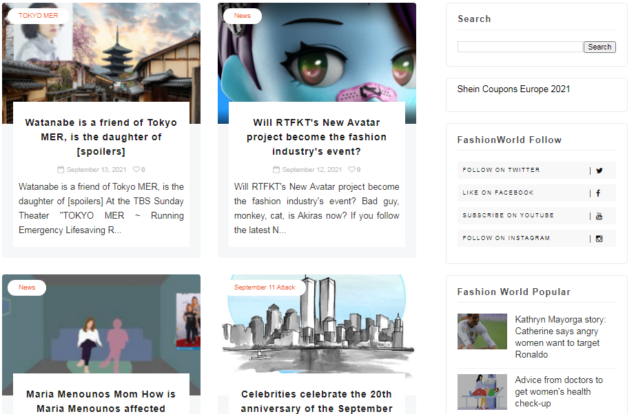 250 Articles in the fashion world web in 2021