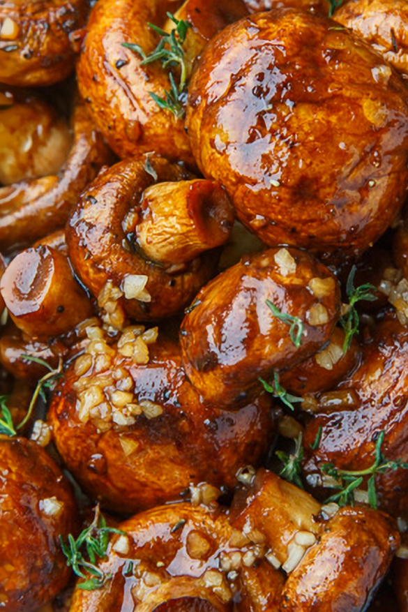 Balsamic Soy Roasted Garlic Mushroom Recipe
