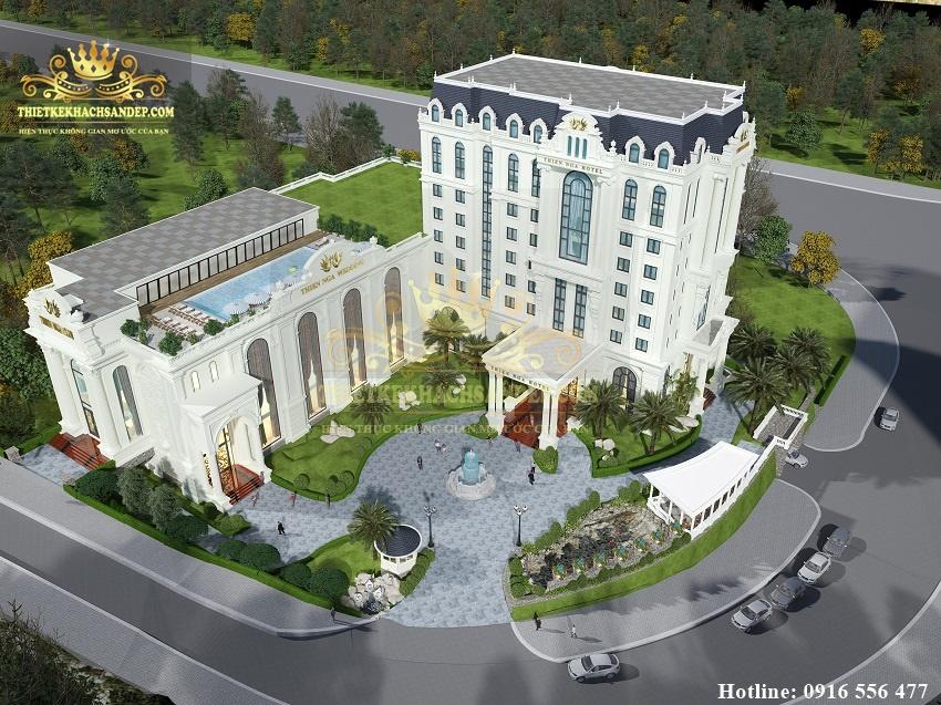 Hình ảnh: Phối cảnh toàn thể của thiết kế khách sạn 4 sao kết hợp với không gian nhà hàng tiệc cưới