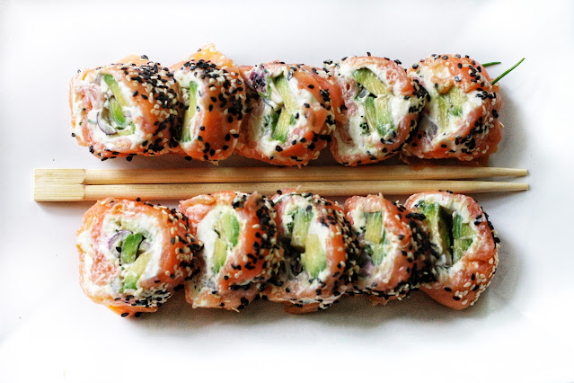 Keto Salmon Avocado Rolls