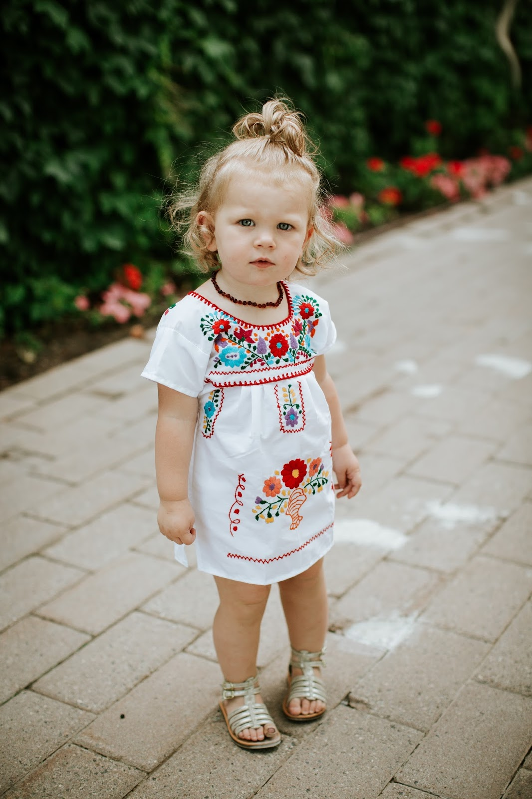 amber Necklace, Floral Dress, Cute toddler outfit