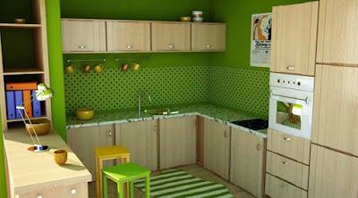 Cozinha em tons de verde e branco