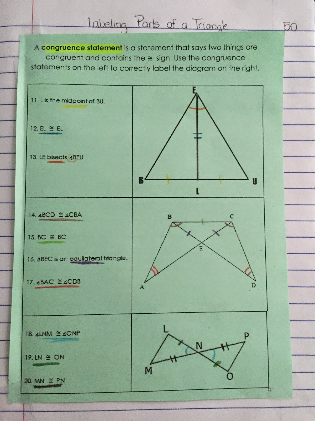 Misscalcul8 Geometry Unit 4 Triangles Interactive Notebook
