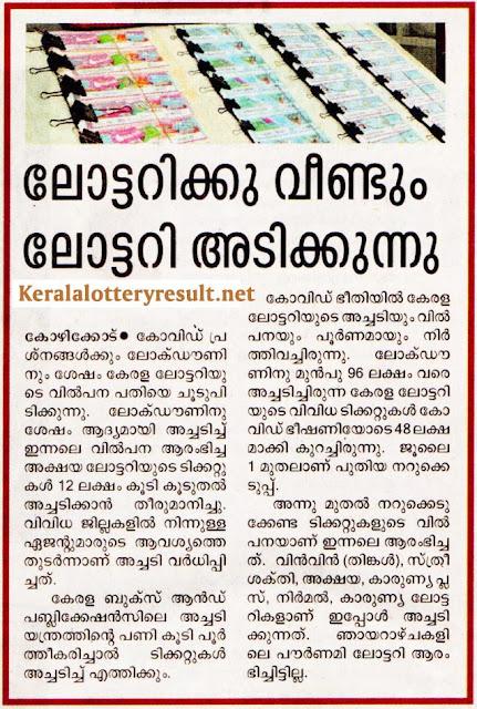 Kerala Lottery July 2020