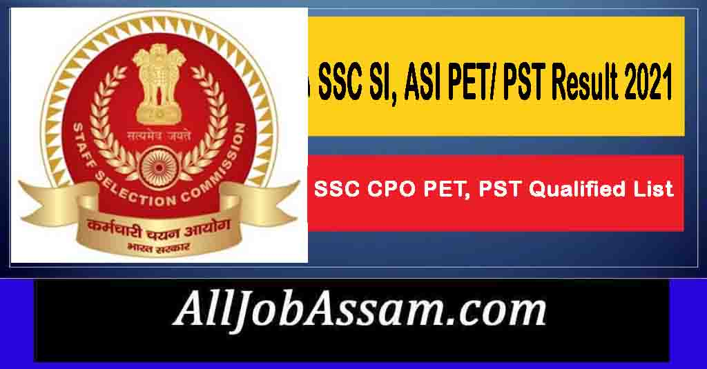 SSC SI & ASI Result 2021
