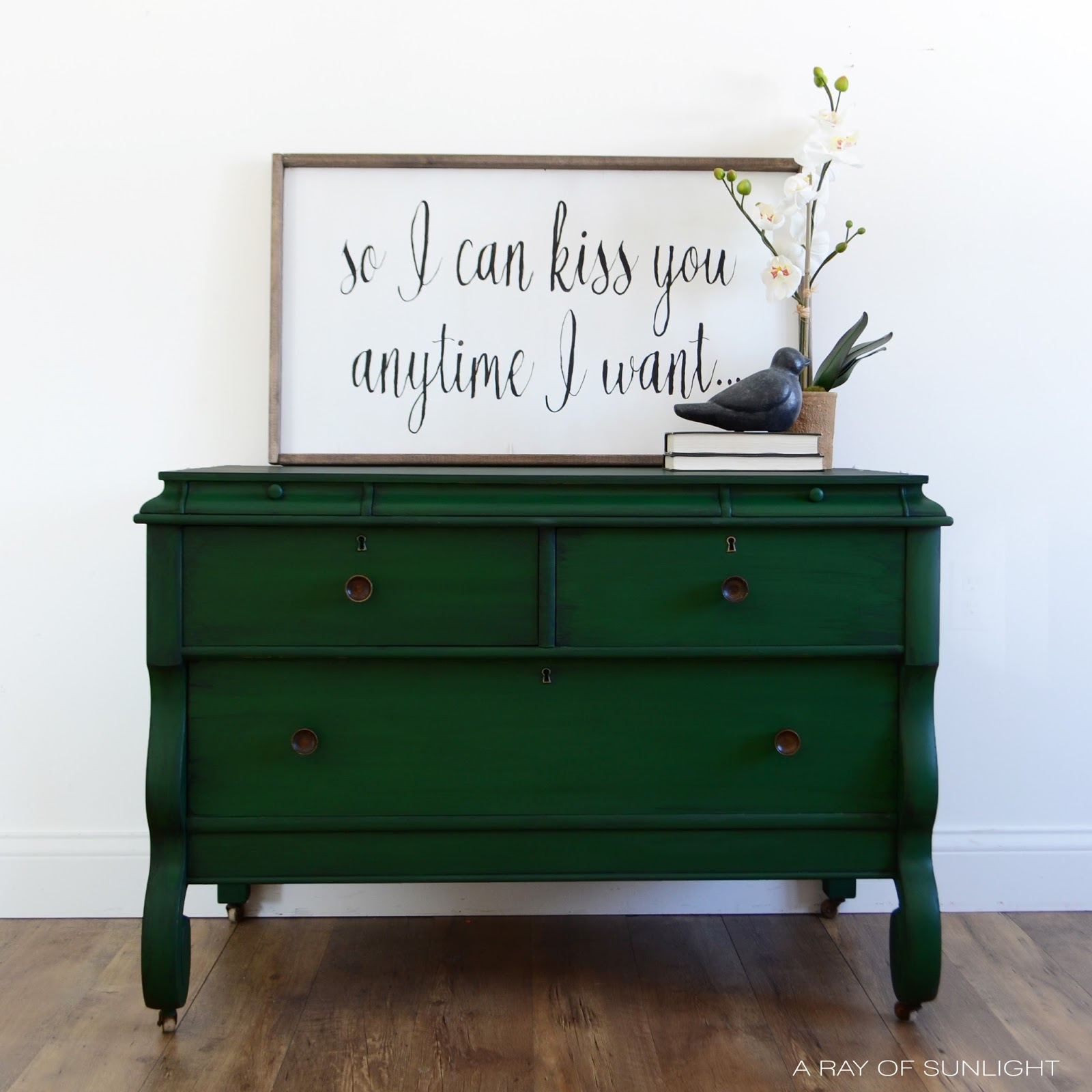 Green Painted Empire Dresser Makeover With Aged Br Hardware Furniture By A Ray Of