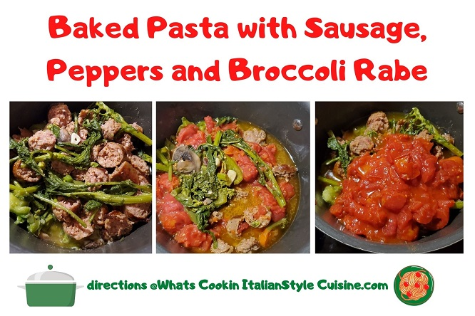 a collage of how to make a broccoli rabe, sausage and tomato sauce topped pasta dish