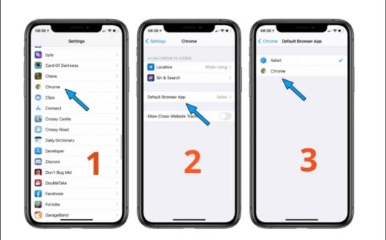 كيفية تعيين متصفح Google Chrome كمتصفح الافتراضي على iPhone