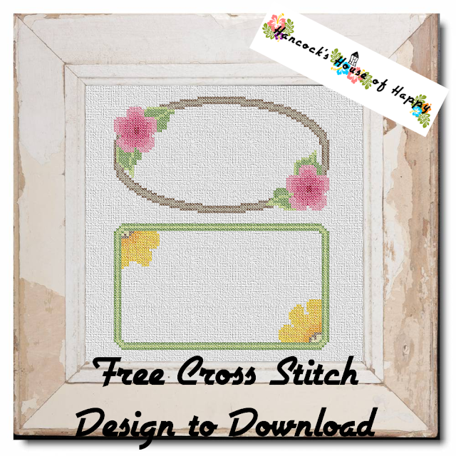 Free Floral Cross Stitch Frames to Customise with Your Own Cross Stitch Messages.