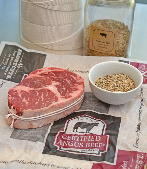 Competition style trimmed ribeye steak with NMT Umami Steak Seasoning recipe