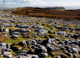 view of distant hill and limestone pavement