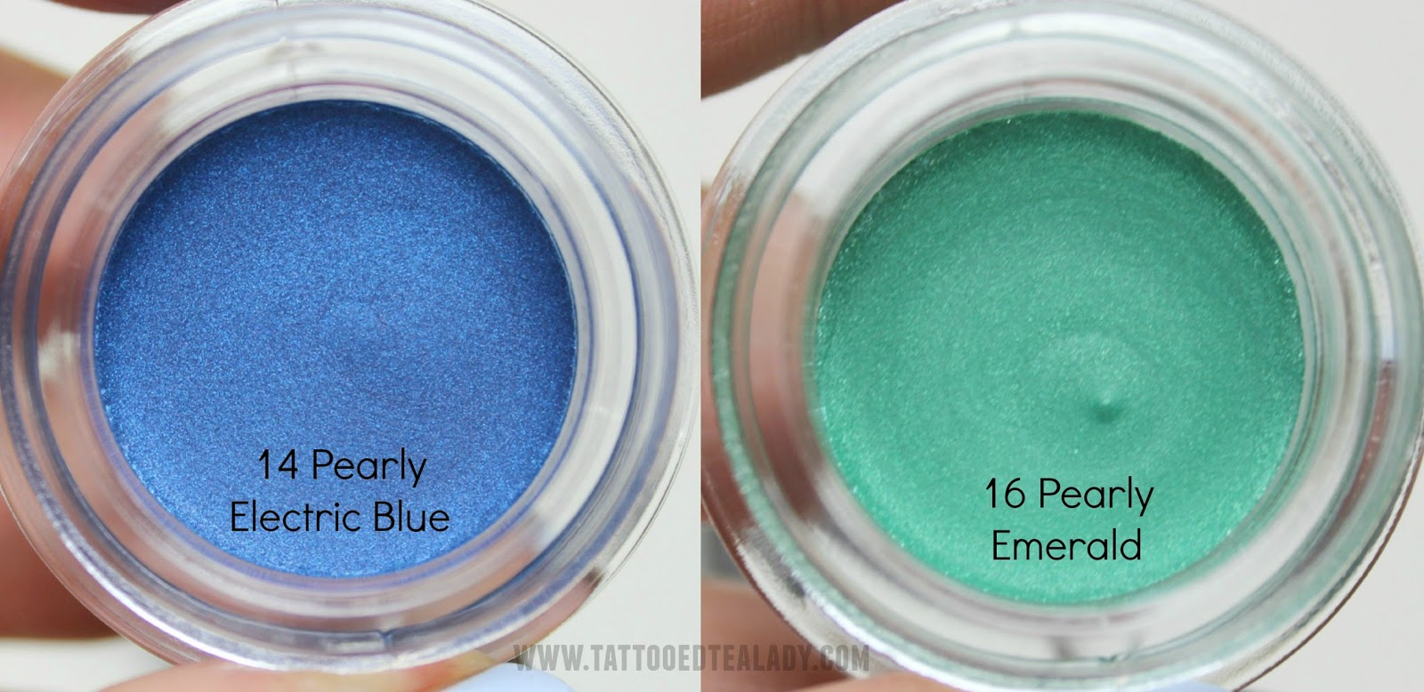 A picture of KIKO Cream Crush Eyeshadow in 14 Pearly Electric Blue and 16 Pearly Emerald