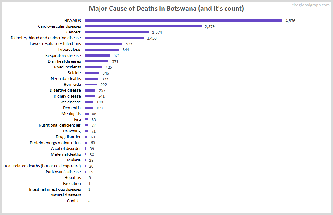 Major Cause of Deaths in Botswana (and it's count)