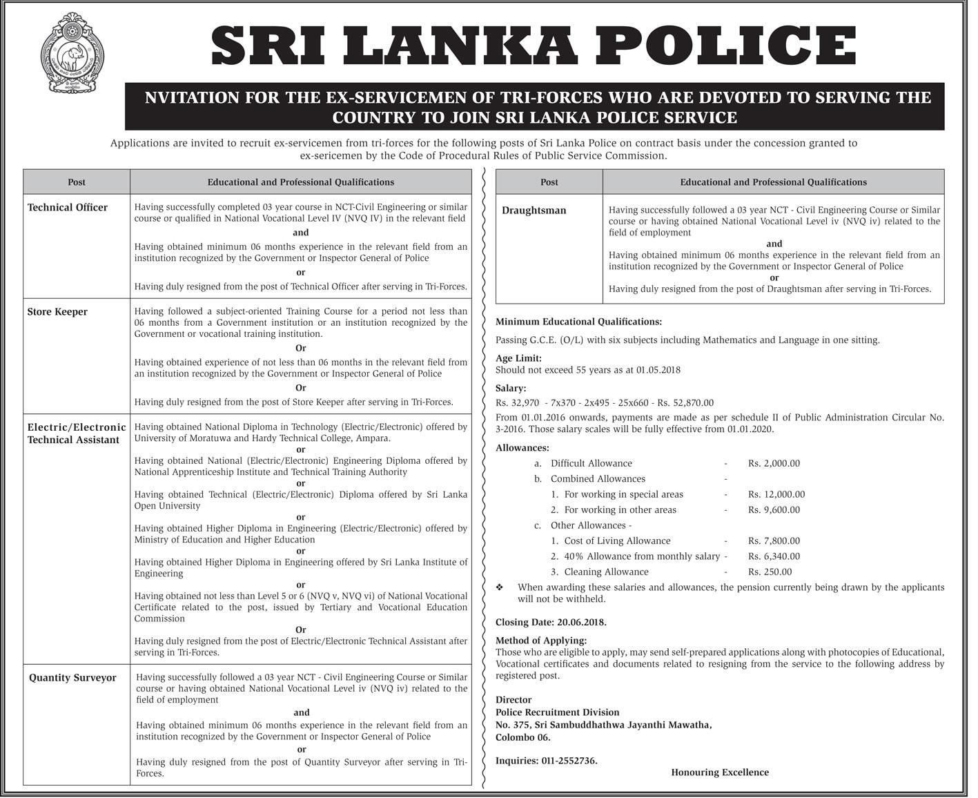 SRI LANKA POLICE VACANCIES for Technical Officer