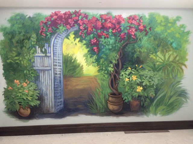 Tropical garden painting, california garden painting, portland muralist, california mural