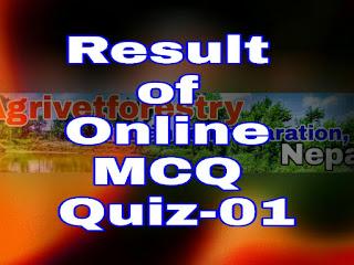 Result of Online MCQ Quiz, Online mcq quiz-01 result