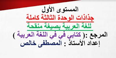 جذاذات الوحدة الثالثة كتابي في اللغة العربية  المستوى الأول بصيغة معدلة