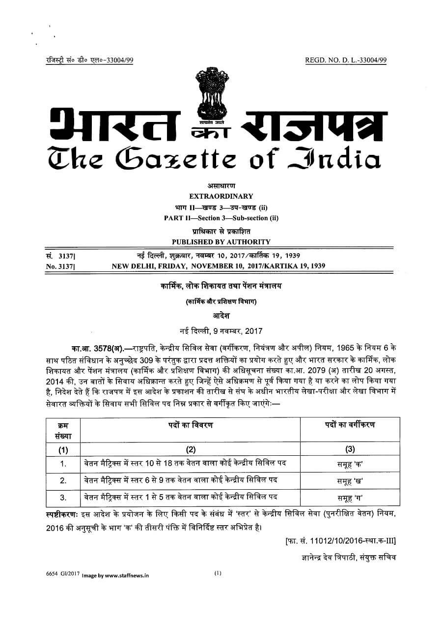 7th-cpc-classification-of-civil-post-hindi-notification