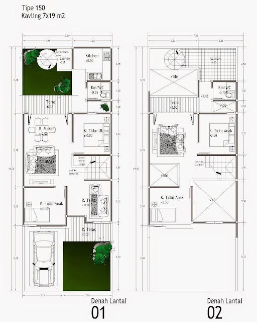 Contoh Denah Rumah lebar 7 meter 2 lantai