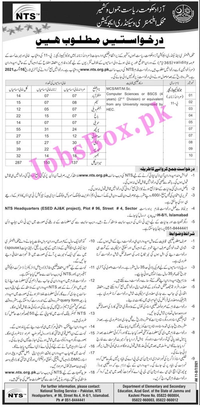 www.nts.org.pk Jobs 2021 - Elementary & Secondary Education Department AJK Jobs 2021 in Pakistan