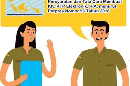 Persyaratan dan Tata Cara Membuat KK, KTP Elektronik, KIA, menurut Perpres Nomor 96 Tahun 2018