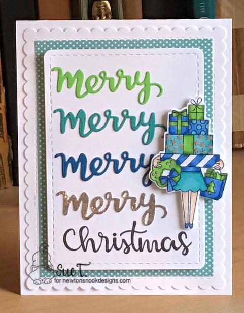 Merry Christmas by Sue features Christmas Haul, Sentiments of the Season, Holiday Greetings, and Frames & Flags by Newton's Nook Designs; #newtonsnook